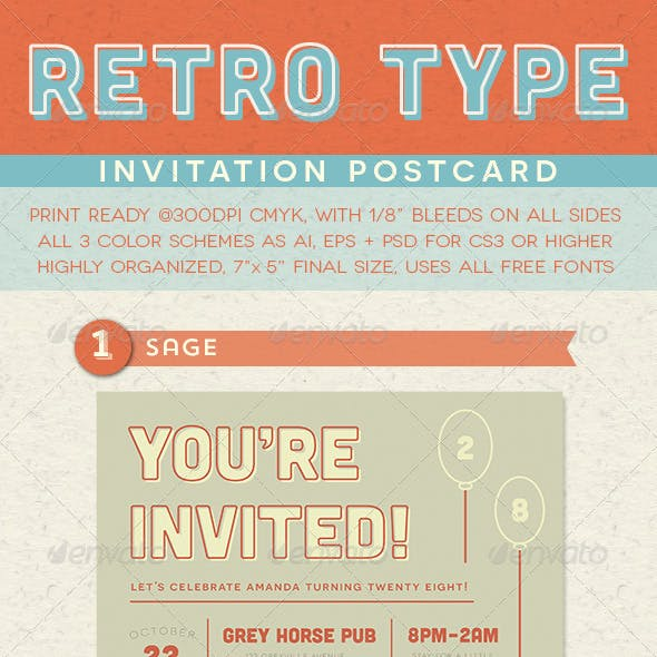 Retro Type Invitation Postcard by everytuesday | GraphicRiver