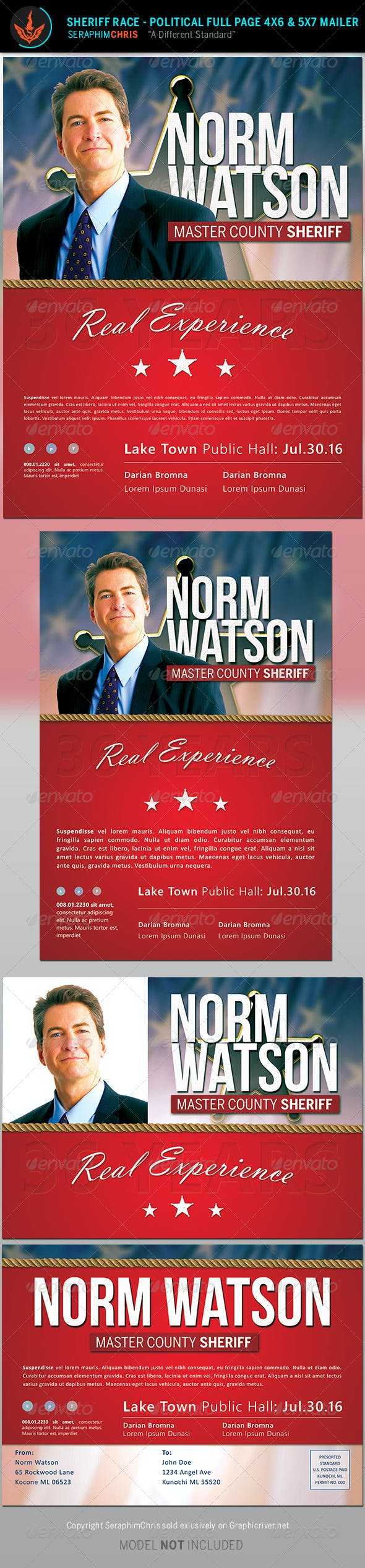 sheriff race political flyer and mailer template by seraphimchris