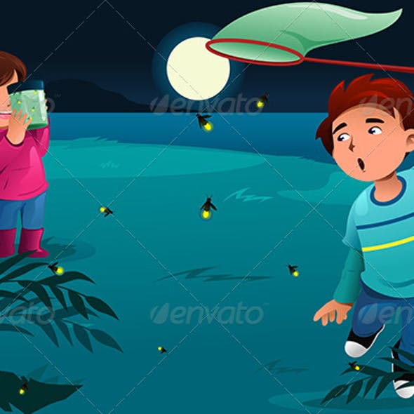 Kids Catching Fireflies By Artisticco Graphicriver