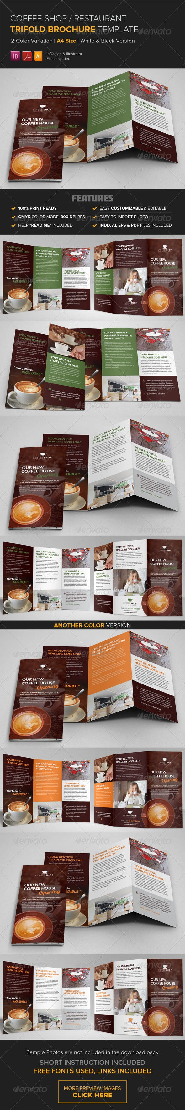 coffee shop restaurant trifold brochure template by