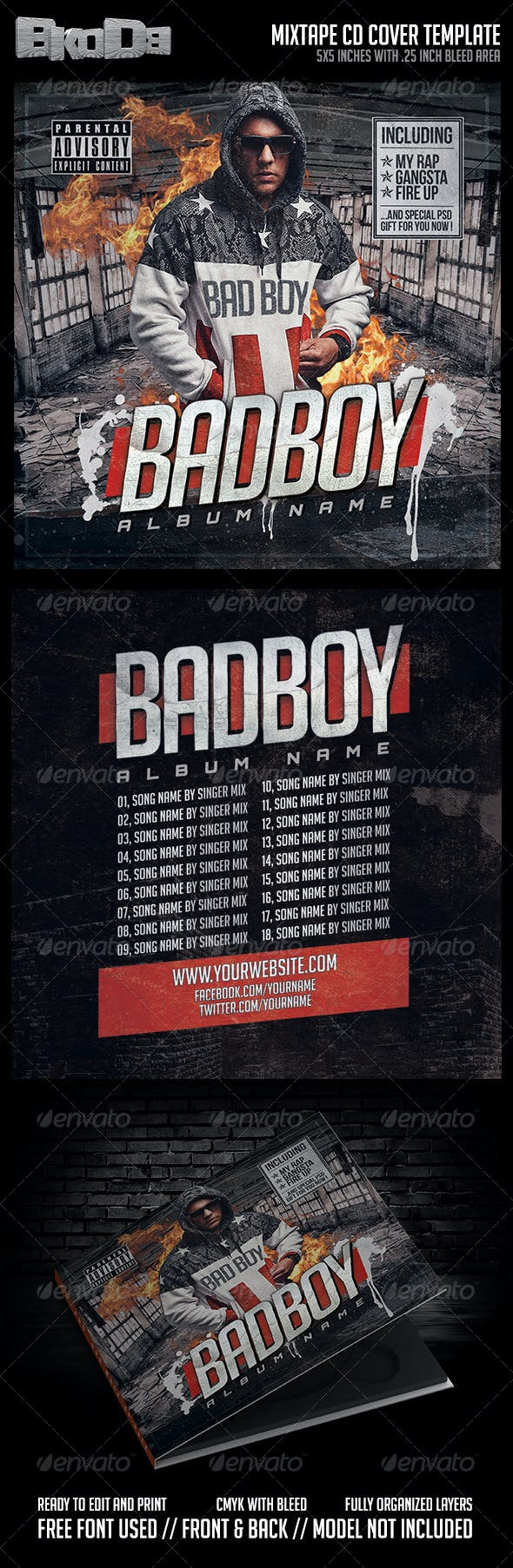 mixtape cover template psd bad boy by badkidd graphicriver