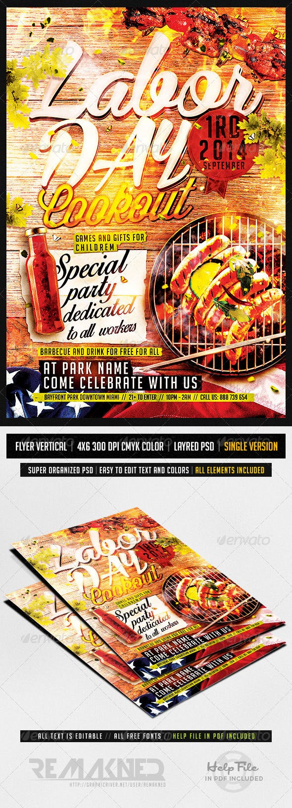 labor day cookout flyer template psd by remakned graphicriver