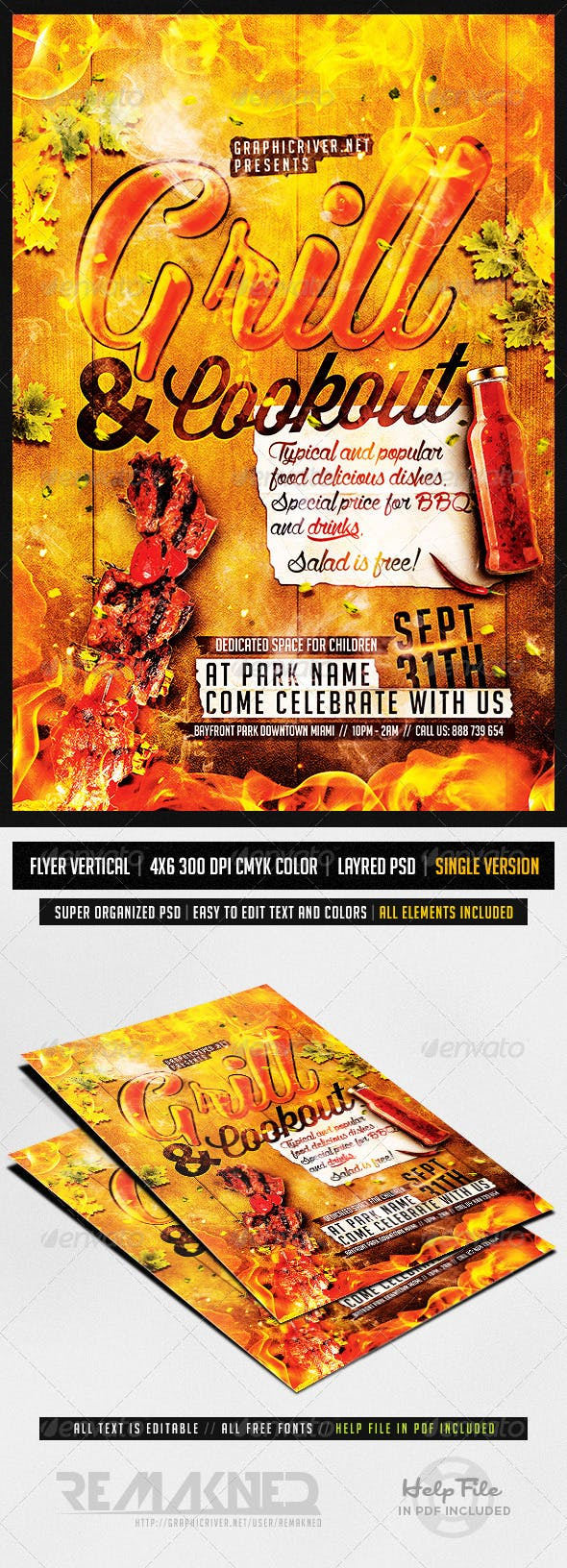 grill and cookout flyer template psd by remakned graphicriver