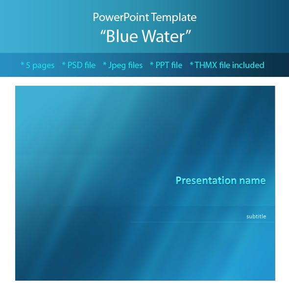 blue water powerpoint template by m e f graphicriver