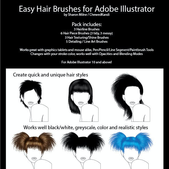 Easy Hair Brushes For Adobe Illustrator By Chewedkandi Graphicriver