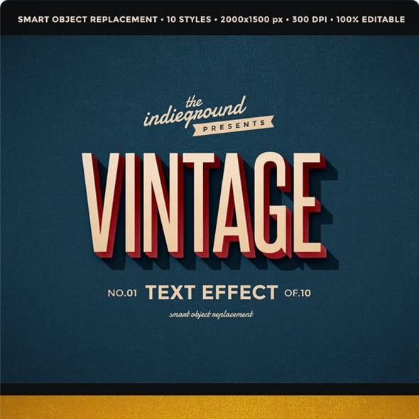Retro Vintage Text Effects by indieground | GraphicRiver