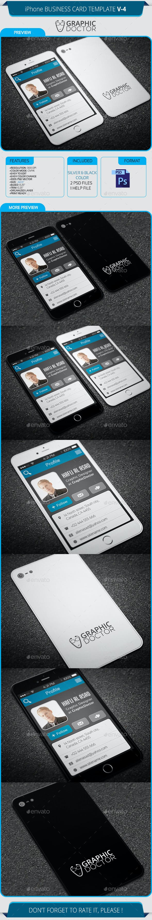 IPhone Business Card Template V 4