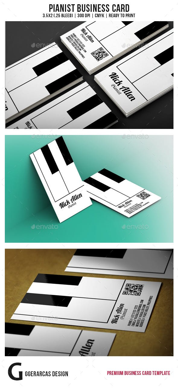 Pianist Business Card By GGerarcas GraphicRiver