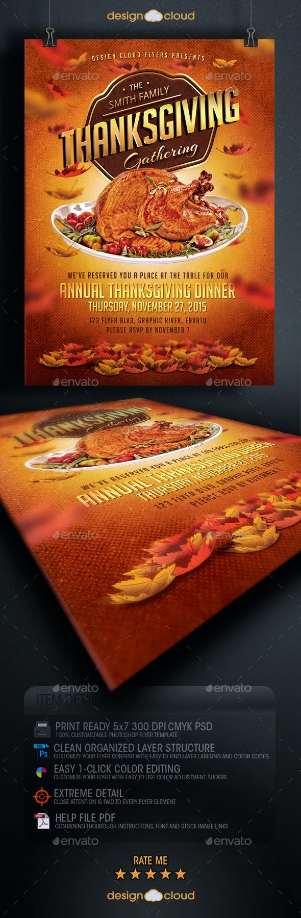 thanksgiving dinner flyer template by design cloud graphicriver