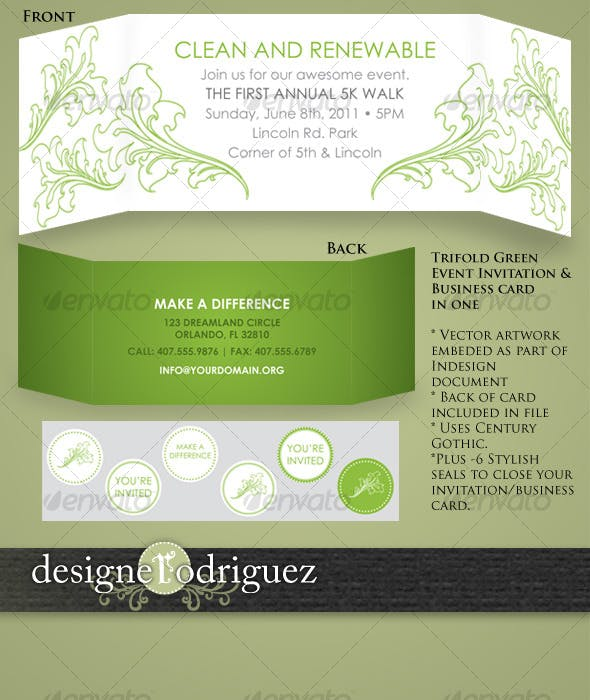 trifold business card invitation in one by designerodriguez