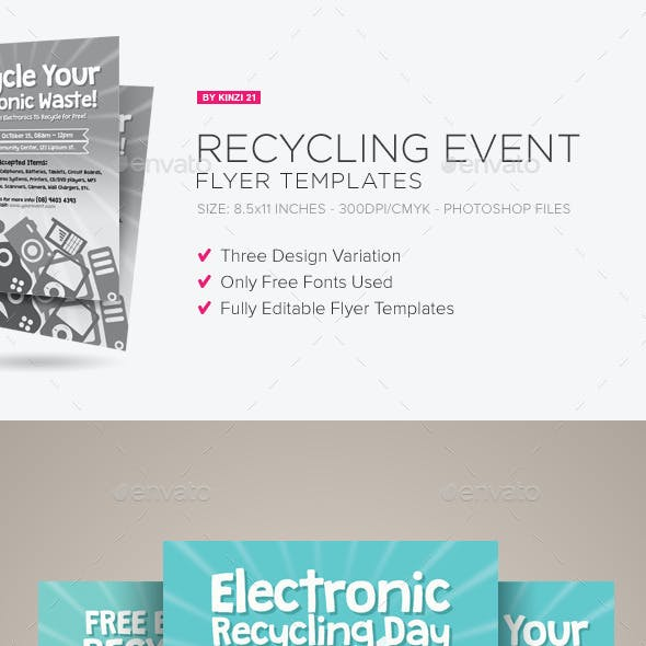 recycling event flyer templates by kinzi21 graphicriver