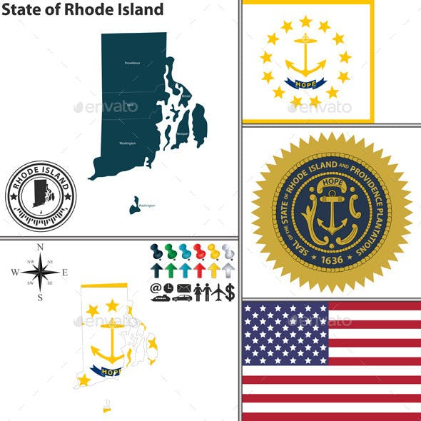 Map of State Rhode Island, USA by sateda2012 | GraphicRiver