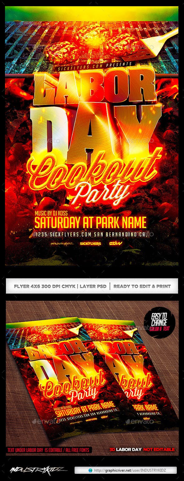 labor day cookout party flyer template by industrykidz graphicriver