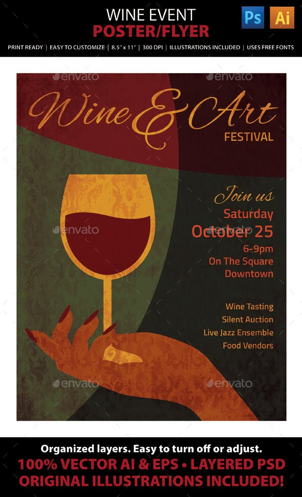 wine art event poster or flyer by juliefelton graphicriver