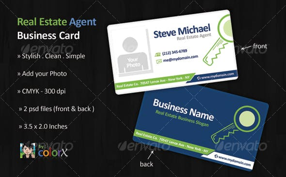 Real Estate Agent Business Card Template By Colorx Graphicriver