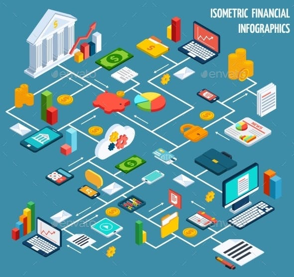 Isometric Financial Flowchart By Macrovector Graphicriver
