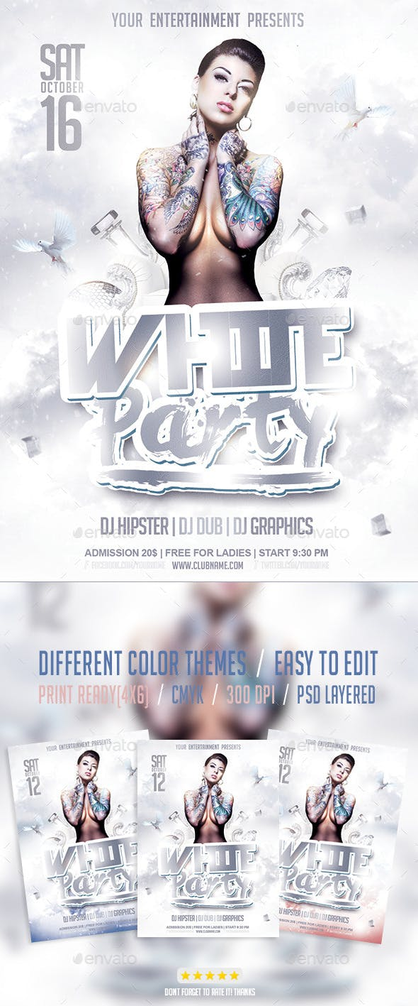 white party flyer psd template by giga template graphicriver