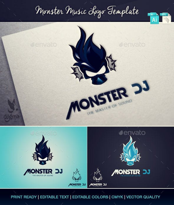 music logo template monster dj by dogmadesign graphicriver