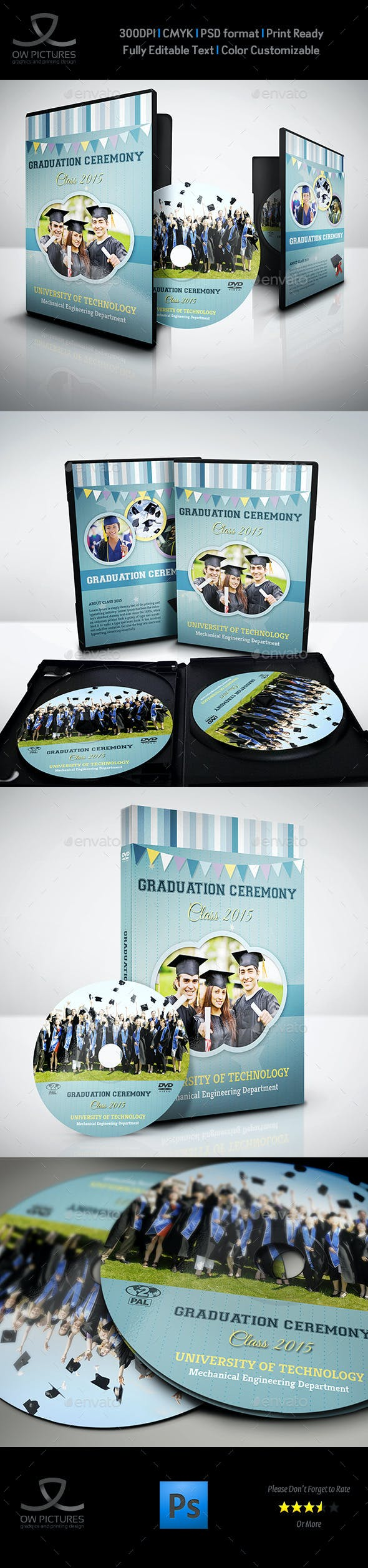 graduation ceremony dvd cover and label template by owpictures