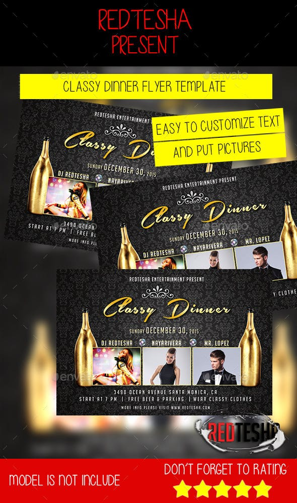 classy dinner flyer template by redtesha graphicriver