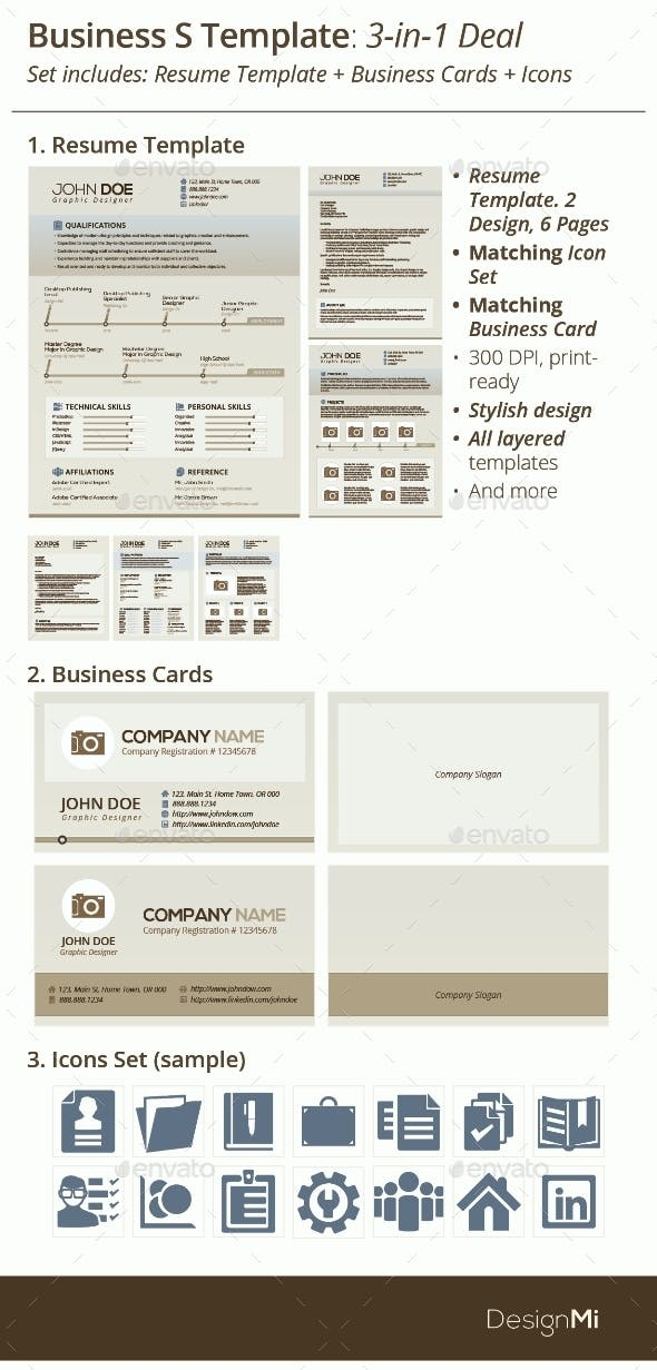 3 in 1 deal resume template icons business card periwinkle s