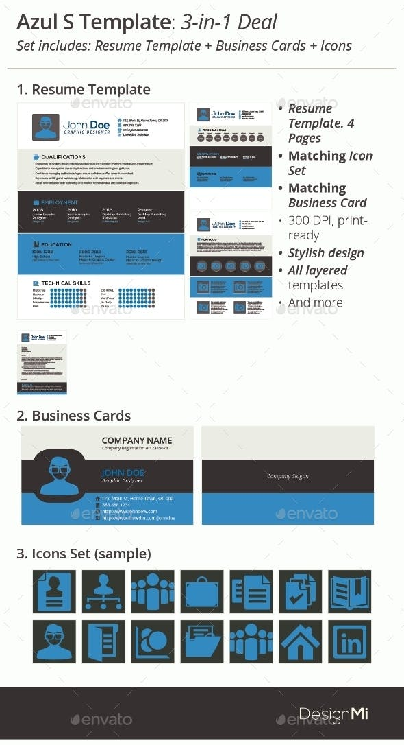 3 in 1 deal resume template icons business card azul