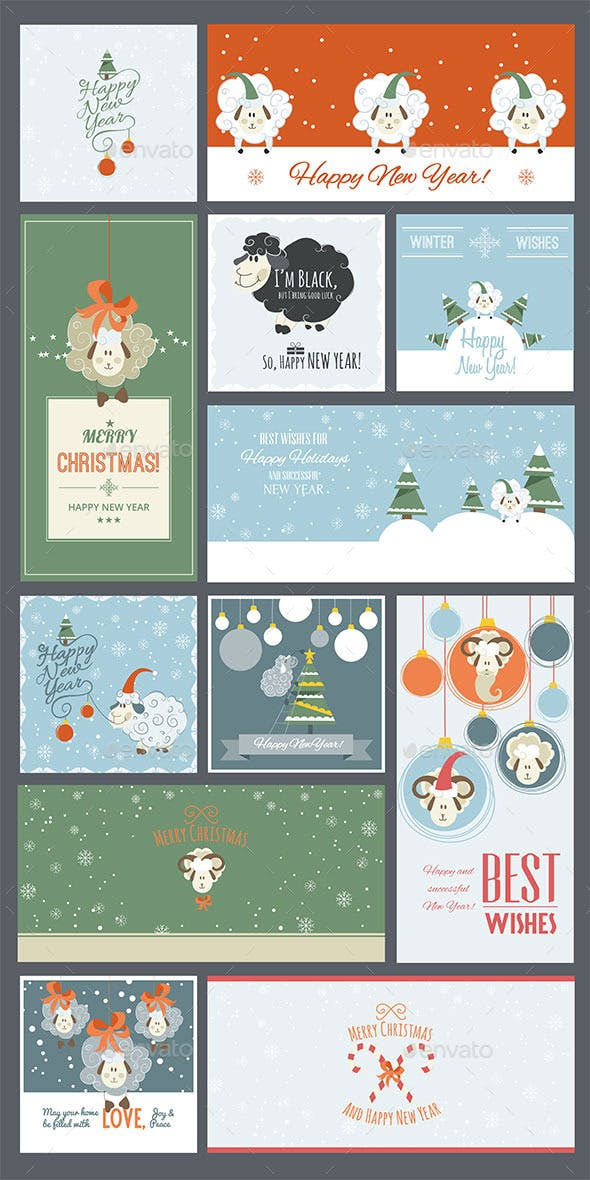 cute sheep new year cards and banners new year seasonsholidays