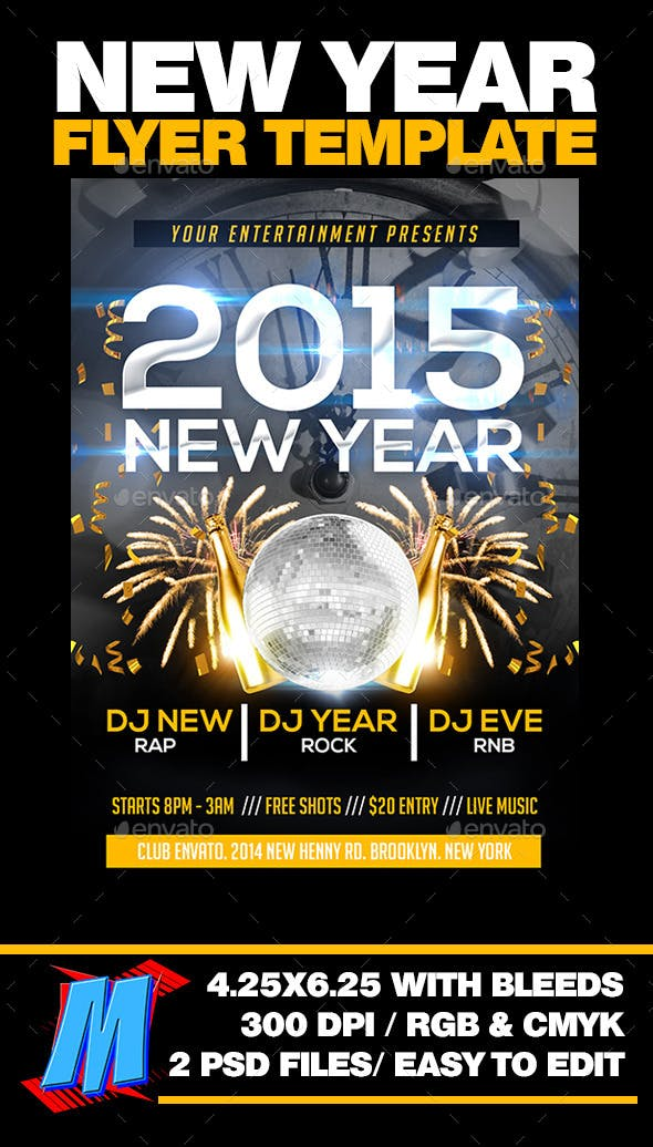 new year flyer template clubs parties events