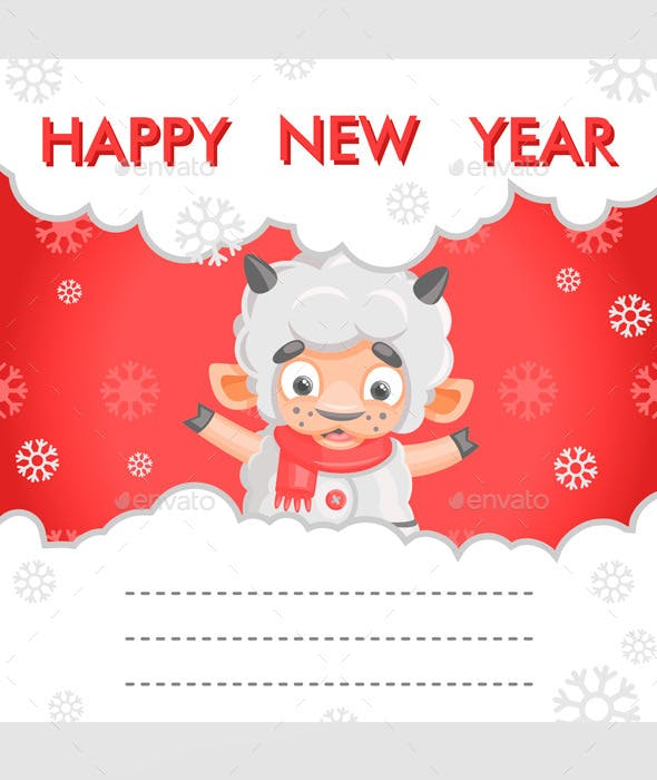 sheep new year card new year seasonsholidays