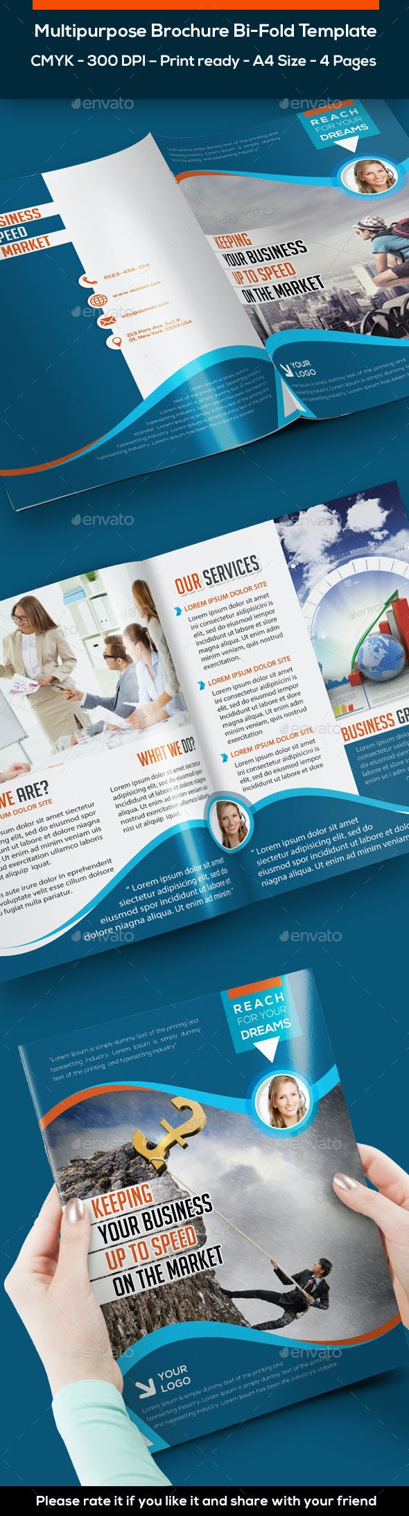 bi fold brochure template 4 pages by arabisq graphicriver