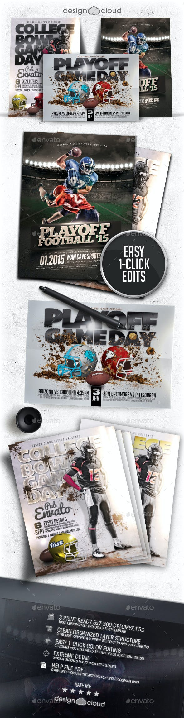 playoff football flyer poster template bundle by design cloud