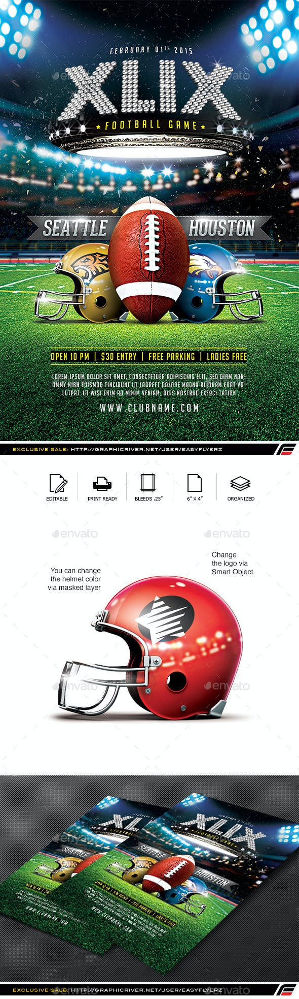 xlix football game flyer template by easyflyerz graphicriver