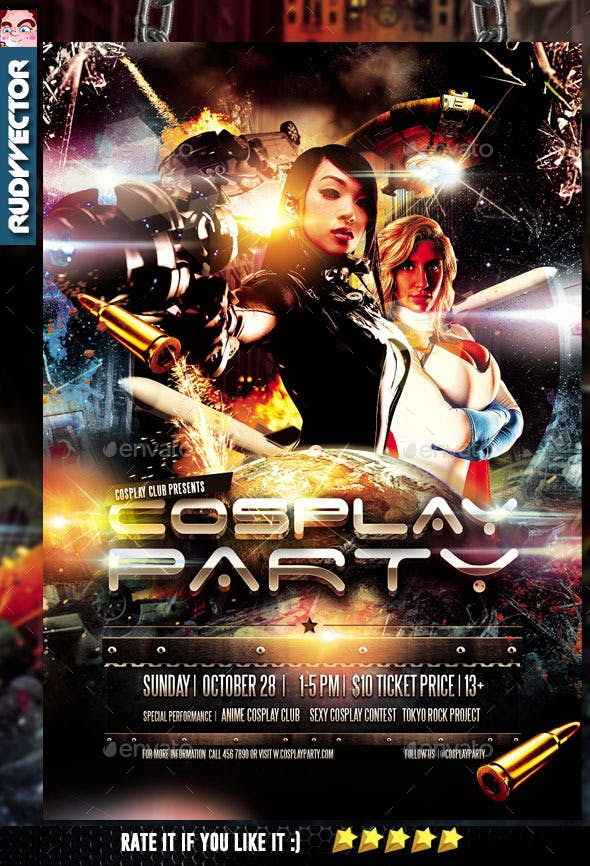 cosplay costume party flyer template by rudyvector graphicriver