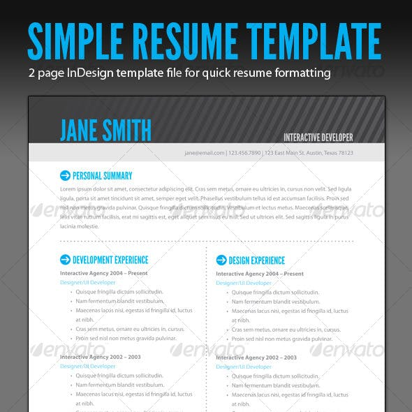 Resume Template Indesign Graphics Designs Templates - Resume-template-indesign
