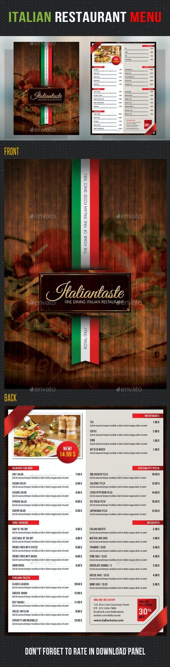 italian restaurant menu template by rapidgraf graphicriver