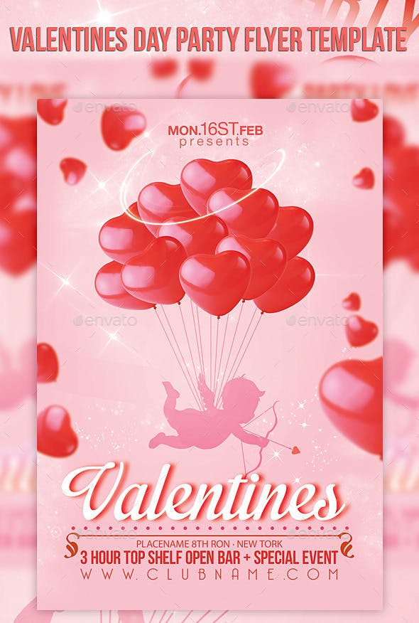Valentines Day Party Flyer Template By Cerceicer Graphicriver