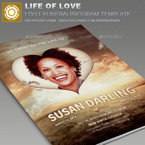 Life Of Love Funeral Program Template 006