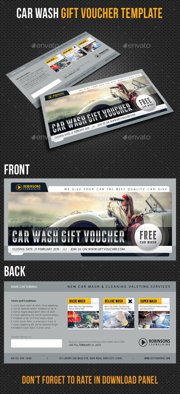 car wash gift voucher template v03 by rapidgraf graphicriver