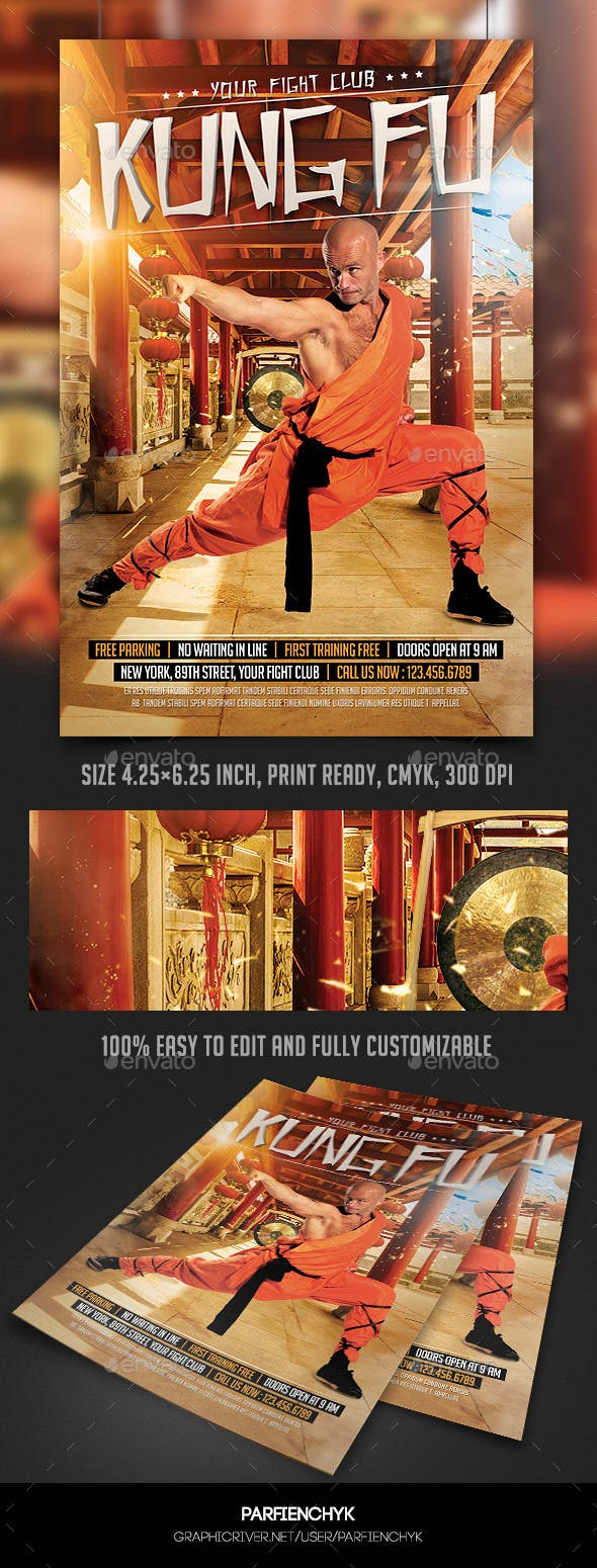 kung fu fight flyer template by parfienchyk graphicriver