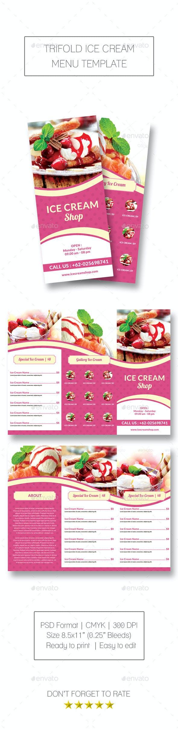 trifold ice cream menu template by meisuseno graphicriver