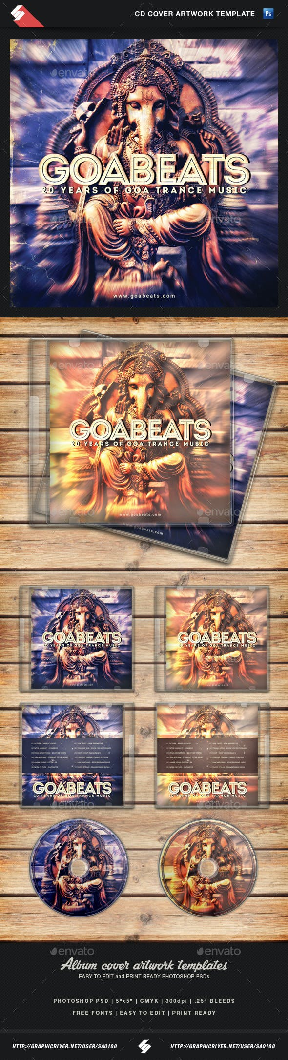 goa beats psytrance album cd cover template by sao108 graphicriver