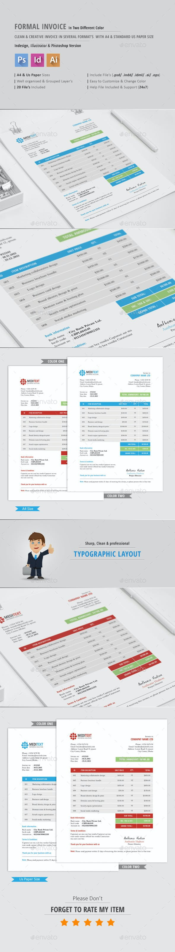 formal invoice template proposals invoices stationery