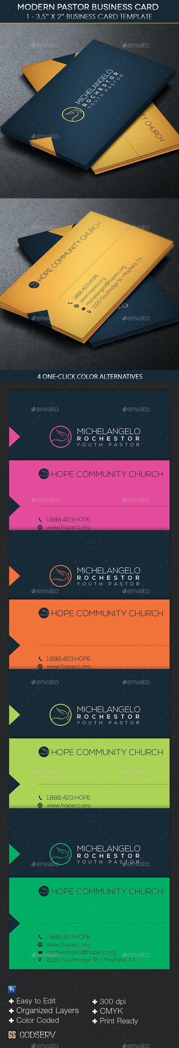 Modern Pastor Business Card Template By Godserv Graphicriver