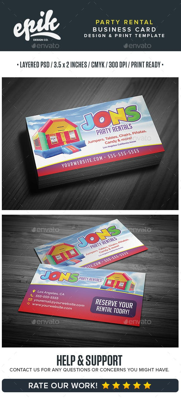 Party Rental Store Business Card Template By Flyerpunkz Graphicriver
