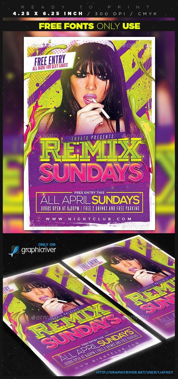 remix sundays party flyer by 1jaykey graphicriver