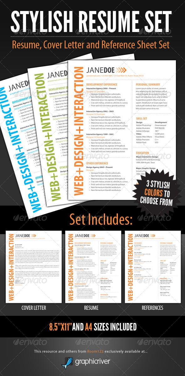 stylish resume template set by graphicmonkee graphicriver