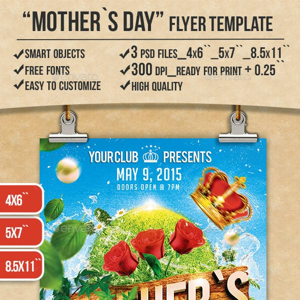 Freebie Mothers Day Flyer Template Design: Mothers Day Flyer Template Graphics, Designs & Templates