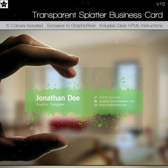 Transparent business card graphics designs templates transparent splatter business cards flashek Choice Image