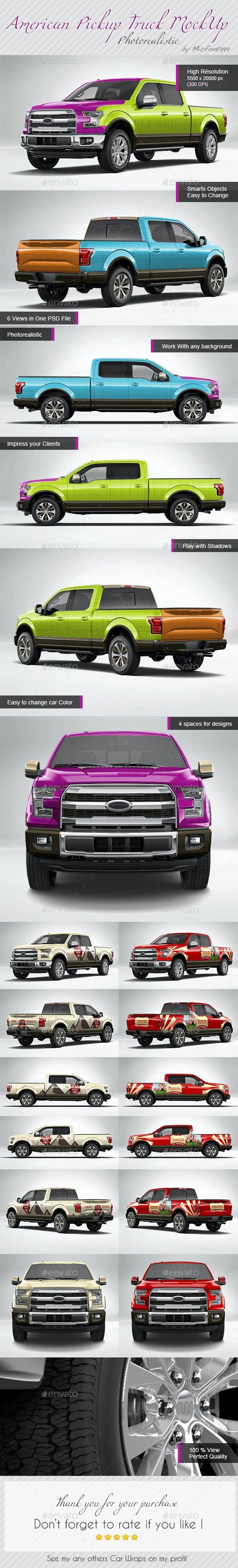 Photorealistic American Pickup Truck Wrap Mock Up