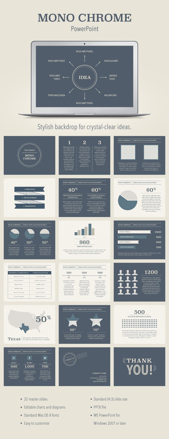 mono chrome powerpoint template by jumsoft graphicriver